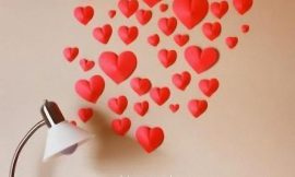 Decoración con corazones de papel en 3D