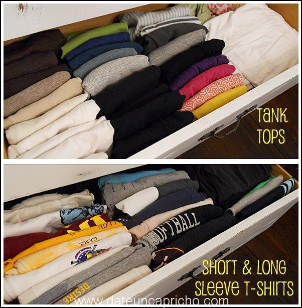 C mo doblar y organizar las camisetas en un caj n date for T shirt drawer organization