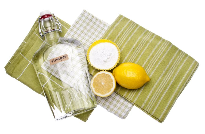 Natural cleaning with Vinegar Lemon Juice and Baking Soda