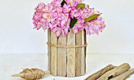 Como hacer un florero con un tarro de vidrio y maderas viejas