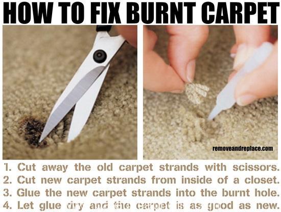 Como arreglar una quemadura en la moqueta (o alfombra)