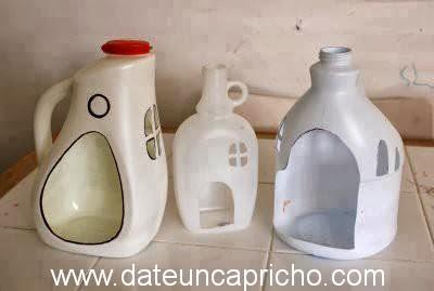 casitas con envases plasticos ideas para uso y reuso de materiales botellas plasticas de jabon liquido y suavisante casa de muñecas facil y rapido con materiales a la alcance de la mano
