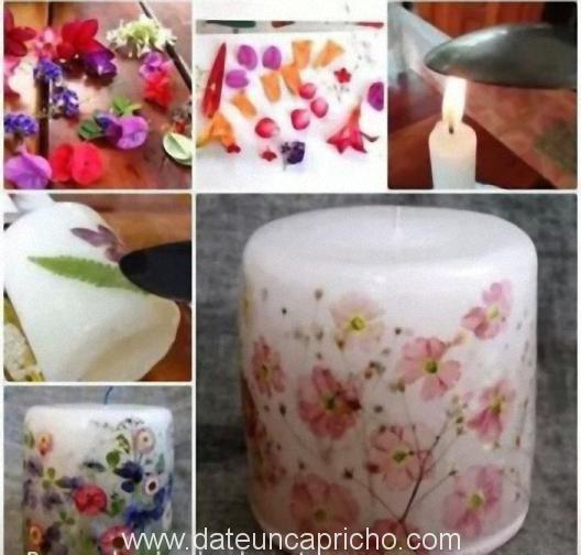 decorar velones con flores secas