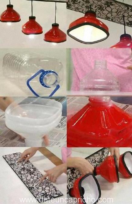 Lámparas de botellones de agua reciclados