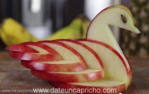 Decoración con manzanas: Cisne