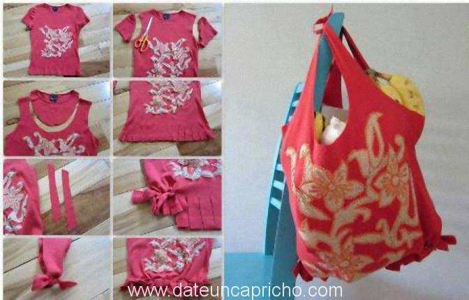 reciclar camiseta y crearla en bolso