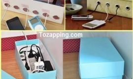 Organizador de cables hecho de caja de zapatos