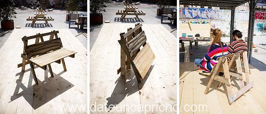 C mo construir una silla plegable de dos plazas con pal s for Silla escalera plegable planos