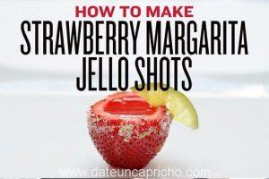 Shots de fresa, gelatina y tequila