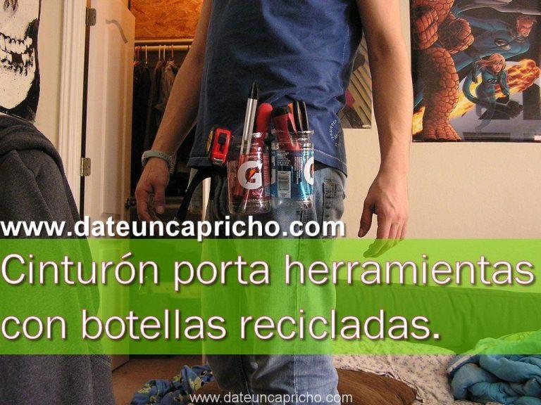 Cinturón porta herramientas con botellas recicladas.