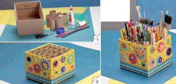 DIY-Easy-Pencil-Holder-from-Toilet-Paper-Rolls