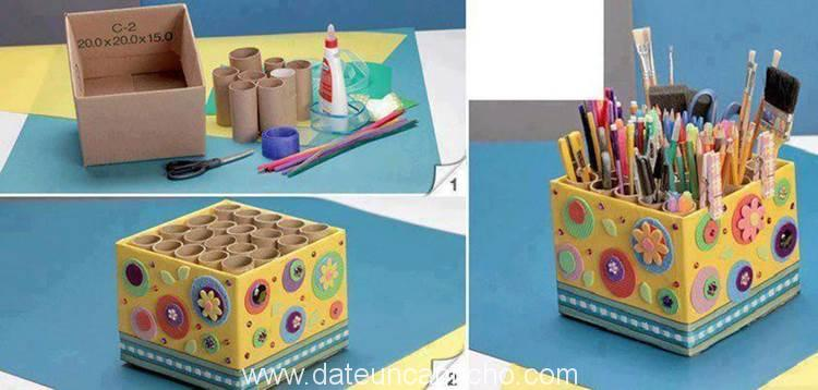 DIY Easy Pencil Holder from Toilet Paper Rolls