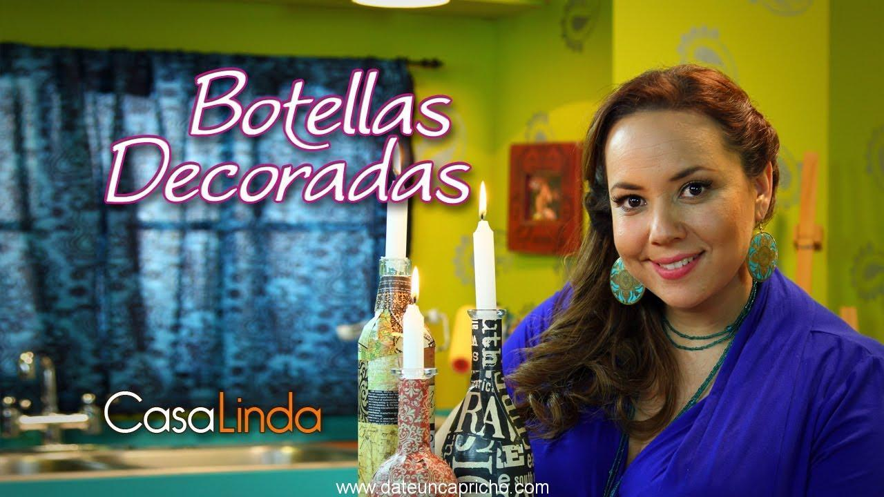 "Botellas decoradas: Técnica ""Decoupage"""